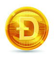dogecoin crypto currency block chain physical vector image