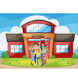 Family standing in front of school building vector image vector image