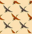 flying crane seamless pattern vector image vector image
