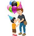 funny man giving a boy ice cream and balloons vector image vector image