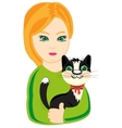 Girl with cat vector image vector image