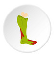 green foot of zombie in the blood icon circle vector image vector image