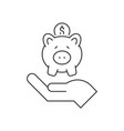 hand holding piggy bank line icon on white vector image