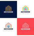 home protection logo set house and key hole icon vector image