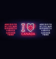 i love canada neon sign i love canada vector image vector image