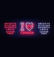 i love canada neon sign i love canada vector image