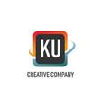 initial letter ku swoosh creative design logo vector image vector image