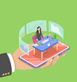 isometric flat concept of online expert vector image vector image
