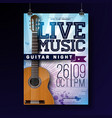 live music flyer design with acoustic guitar on vector image vector image