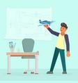 man making model of airplane flat vector image vector image