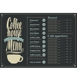 menu with price for the coffee house vector image vector image