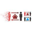 moving pixelated halftone men home exchange icon vector image vector image