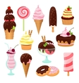Pastries cakes and ice cream icon set vector image vector image