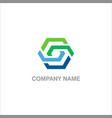 polygon connect technology logo vector image vector image