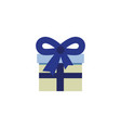 present box with blue ribbon flat icon vector image vector image