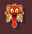 realistic paper sticker on theme funny animal dog vector image vector image