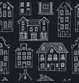 seamless pattern hand drawn buildings vector image vector image