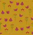 seamless pattern with chickens and flowers vector image vector image