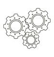 set gear wheel engine teamwork outline vector image