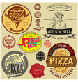 set icons on a theme a pizza delivery restaurant vector image