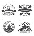 set of kayak club badge vector image vector image