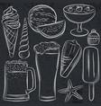 set of summer symbols shells beer ice cream vector image