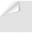 sheet paper with curled corner and soft shadow vector image vector image