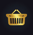 shopping cart basket buy gold logo vector image vector image