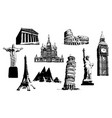 silhouettes of world sights vector image vector image