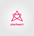 star love hearth line art logo letter a symbol vector image