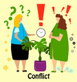 two cute business women quarrel and swear vector image