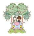 wedding couple on car cute cartoon vector image