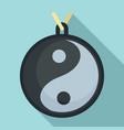 yin yang medallion icon flat style vector image