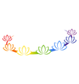 Yoga emblem with abstract chakra lotuses isolated vector image