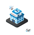 Isometric hospital icon building city infographic vector image