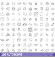 100 auto icons set outline style vector image vector image
