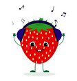 a cute strawberry character in cartoon style vector image vector image