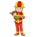 A drawing of a fireman rescuing a young girl vector image vector image