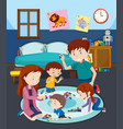 a family playing toy with children vector image