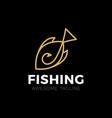 big fish catch logo template fishing club vector image