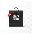 black friday black paper bag with tag sale and vector image