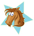 brown horse face cartoon on star vector image vector image