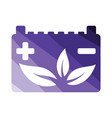 car battery leaf icon vector image
