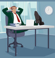 carefree businessman sleeps in workplace vector image