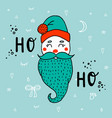 cartoon cute santa claus with lettering ho-ho vector image