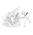 cartoon of angry businessman destroying office vector image vector image