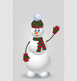 cute cartoon snowman in green knit winter vector image