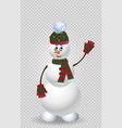 cute cartoon snowman in green knit winter vector image vector image
