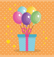 cute giftbox with balloons air birthday card vector image