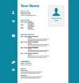 cv resume template in blue color vector image
